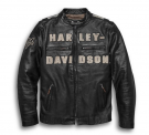 Men's Vintage Race-Inspired Leather Jacket